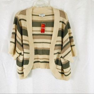 NWT🌟AVENUE Striped Shrug Sweater 26/28 Open Front